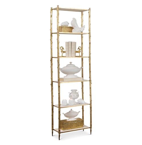 Spring Lake Coastal Beach Gold Twig White Marble Display Shelves | Kathy Kuo Home
