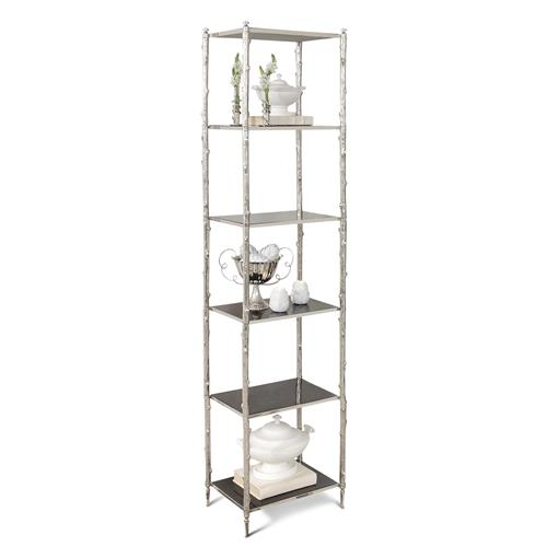 Spring Lake Coastal Beach Silver Twig Black Granite Display Shelves | Kathy Kuo Home