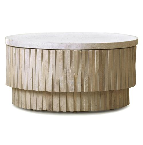 Rajasthan Global Bazaar Terrazzo Stone Round Coffee Table | Kathy Kuo Home