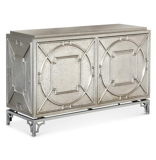 Keaton Hollywood Regency Silver Storage 2 Door Cabinet | Kathy Kuo Home