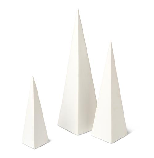 Khan Global Bazaar White Pyramid Sculptures - Set of 3 | Kathy Kuo Home