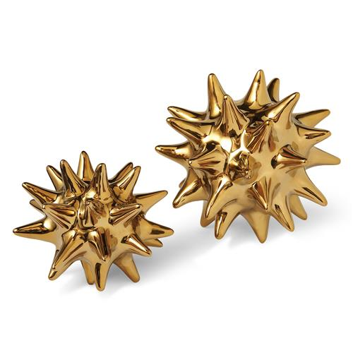 Cousteau Coastal Beach Bright Gold Sea Urchin Sculptures - Set of 2 | Kathy Kuo Home