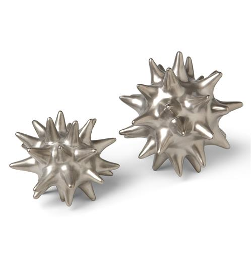 Cousteau Coastal Beach Matte Silver Sea Urchin Sculptures - Set of 2 | Kathy Kuo Home