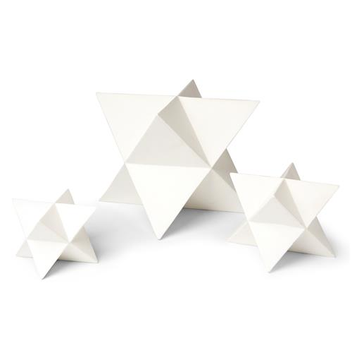 Orion White Ceramic Polyhedron Stars - Set of 3 | Kathy Kuo Home
