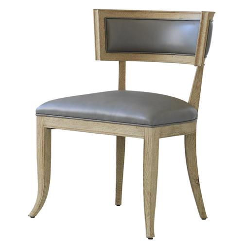 Minnelli Hollywood Regency Grey Leather Dining Chair | Kathy Kuo Home