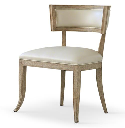 Minnelli Hollywood Regency Ivory Leather Dining Chair | Kathy Kuo Home