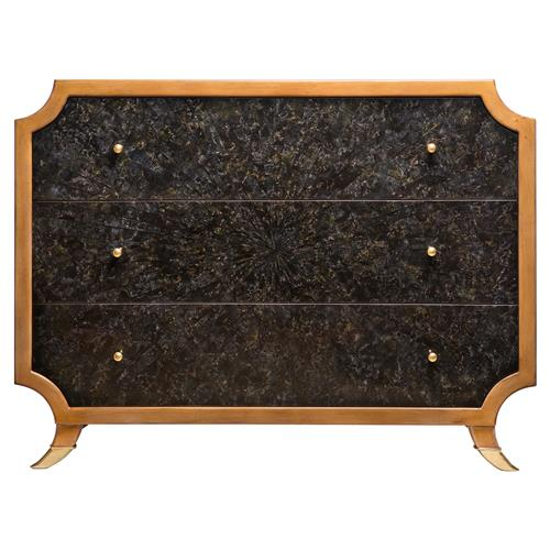 Radiant Burst Hollywood Regency Black Horn Inlay Brown Dresser | Kathy Kuo Home