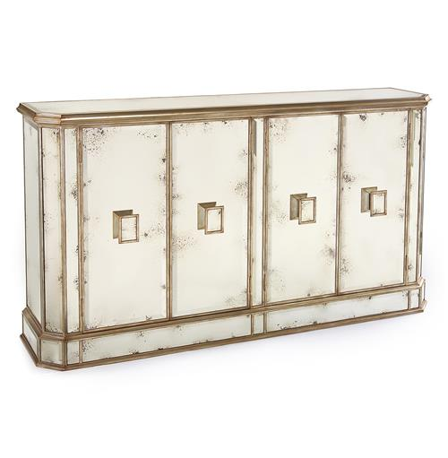 John-Richard Solange Hollywood Regency Antique Mirror Silver 4 Door Sideboard Buffet | Kathy Kuo Home
