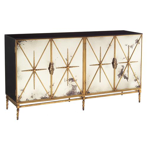 John-Richard Adalyn Hollywood Regency Antique Mirror Gold Black 4 Door Sideboard | Kathy Kuo Home