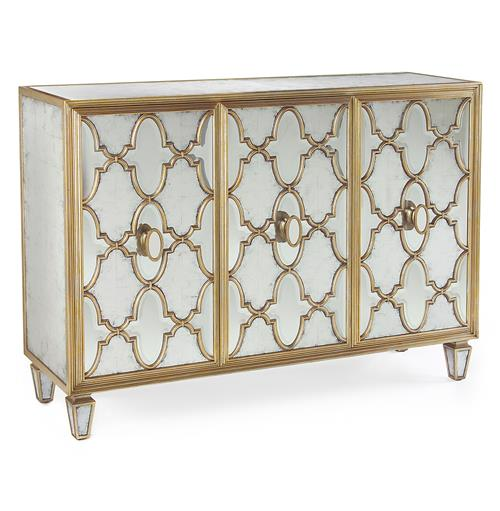 John-Richard Babette Hollywood Regency Silver Leaf Mirrored Gold Lattice Sideboard | Kathy Kuo Home