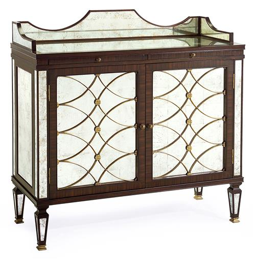 Cordelia Hollywood Regency Silver Leaf Mirrored Rosewood Bar Sideboard | Kathy Kuo Home