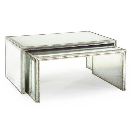 John-Richard Jasmine Hollywood Regency Silver Leaf Mirror Nesting Coffee Table - Set of 2 | Kathy Kuo Home