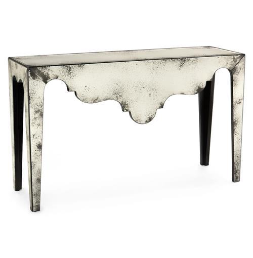 Evangeline Hollywood Regency Antique Mirror Scalloped Console Table | Kathy Kuo Home