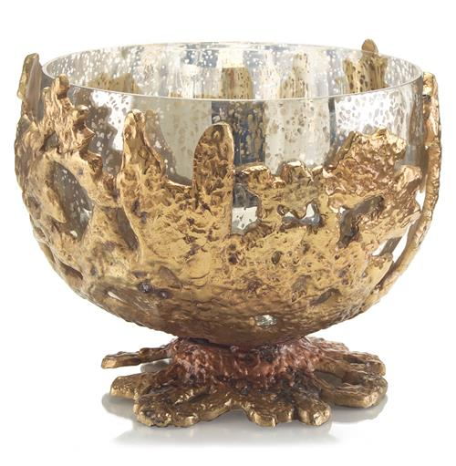 John-Richard Harcourt Coastal Beach Coral Antique Gold Mercury Glass Bowl | Kathy Kuo Home