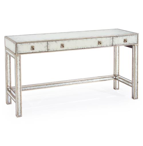 Joelle hollywood regency silver leaf mirror 3 drawer for Silver vanity table