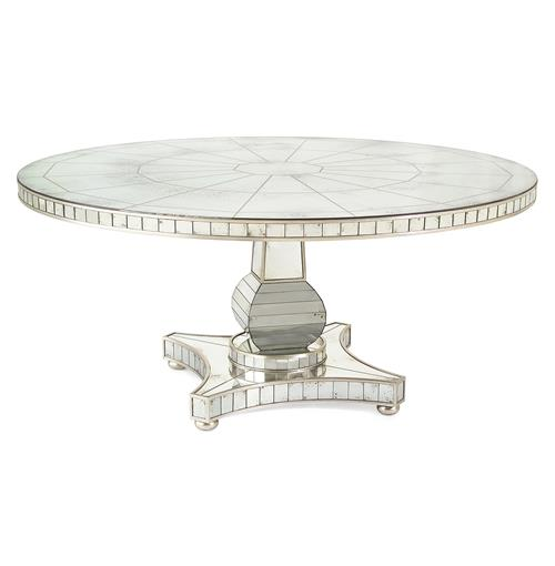 John-Richard Millie Hollywood Regency Antique Mirror Silver Round Dining Table | Kathy Kuo Home