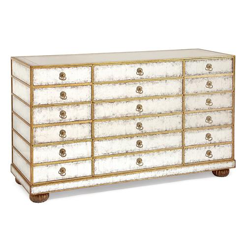 Vienna Hollywood Regency Silver Leaf Mirror Gold 12 Drawer Dresser | Kathy Kuo Home