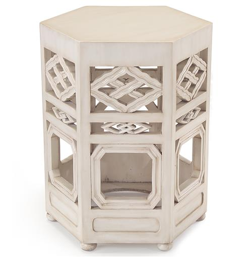 John-Richard Deshi Global Bazaar White Wood Pierced Tea End Table | Kathy Kuo Home