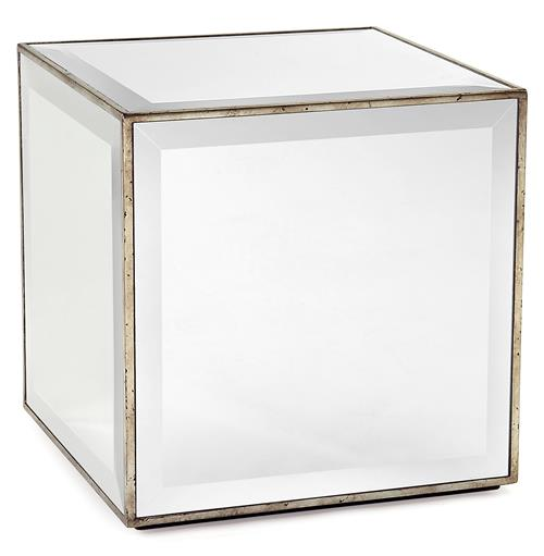 Milly Hollywood Regency Mirror Antique Silver Leaf Cube Side End Table | Kathy Kuo Home
