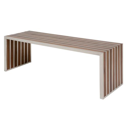 Holden Stainless Steel Walnut Wood Slatted Modern Bench | Kathy Kuo Home