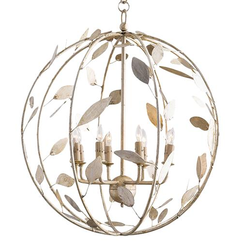 Poussin French Country Champagne Leaf Garden Globe Chandelier | Kathy Kuo Home