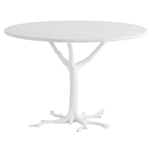 Bijou Global Bazaar White Tree Branch Iron Marble Petite Dining Table | Kathy Kuo Home