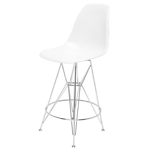Eiffel Reproduction White Plastic Chrome Frame Mid Century Counter Stool - Pair | Kathy Kuo Home