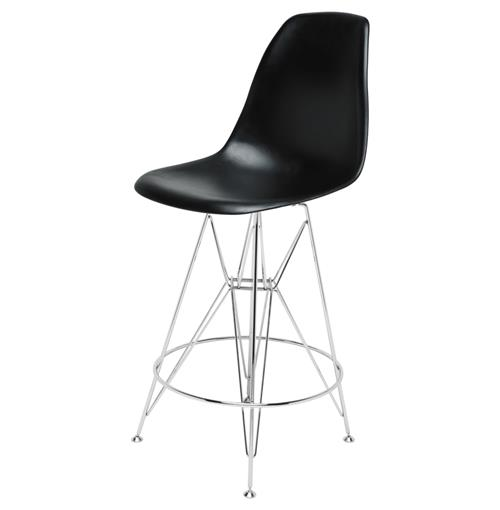 Eiffel Reproduction Black Plastic Chrome Frame Mid Century Counter Stool | Kathy Kuo Home