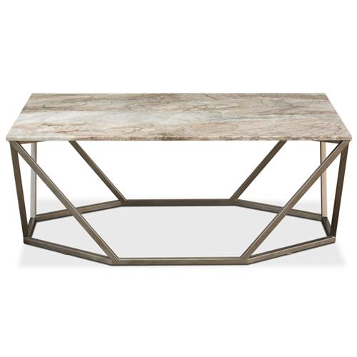 Ava Modern Classic Beige Marble Silver Base Trapeziod Rectangular Coffee Table | Kathy Kuo Home