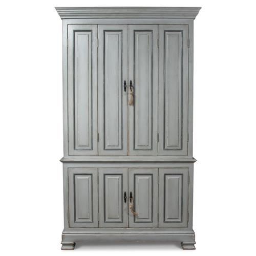 Vivienne French Country Grey Solid Pine Double Hinged Door Bookcase | Kathy Kuo Home