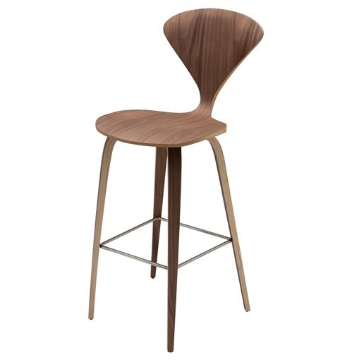 Regan American Natural Walnut Mid Century Molded Wood Counter Stool | Kathy Kuo Home