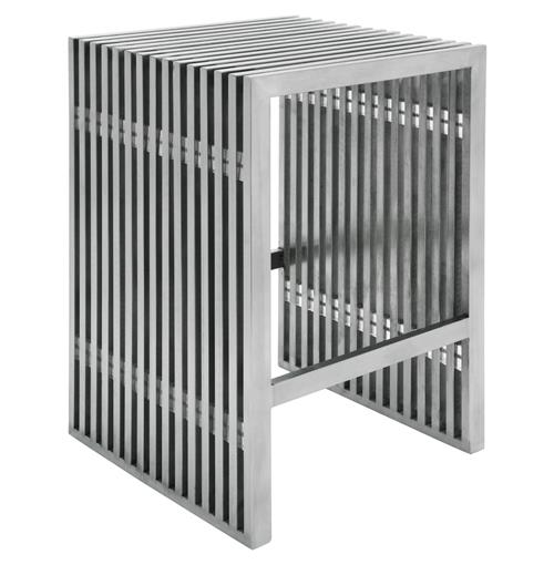 Holden Industrial Loft Stainless Steel Slatted Modern Counter Stool | Kathy Kuo Home