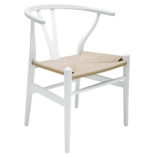 Jace Ming Mid Century Mid Century Rattan White Dining Arm Chair | Kathy Kuo Home