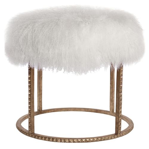 Pom Pom Hollywood Regency White Lamb Gold Studded Pouf Ottoman | Kathy Kuo Home