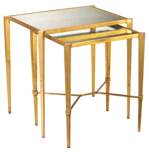 Gershon Hollywood Regency Gold Leaf Antique Mirror Nesting Tables | Kathy Kuo Home
