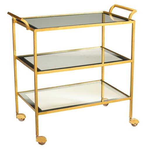 Milford Hollywood Regency Glass Gold Leaf Serving Bar Cart | Kathy Kuo Home