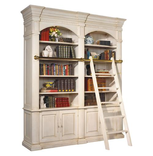 Percier French Country White Double Library Bookcase with Ladder | Kathy Kuo Home