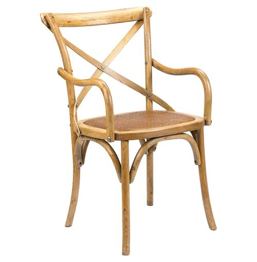Kasson French Country Light Oak Wood Dining Arm Chair | Kathy Kuo Home