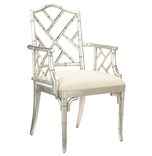 Chinese Chippendale Hollywood Regency Silver Bamboo Dining Arm Chair | Kathy Kuo Home