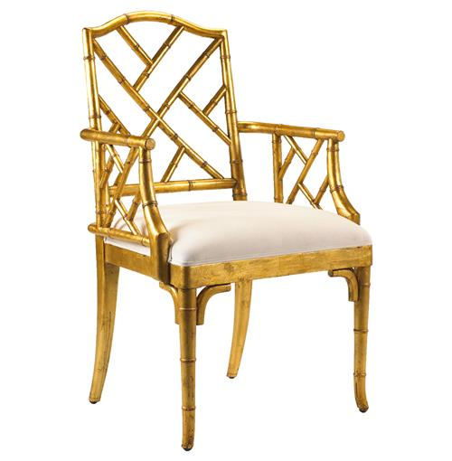 Chinese Chippendale Hollywood Regency Gold Bamboo Dining Arm Chair | Kathy Kuo Home