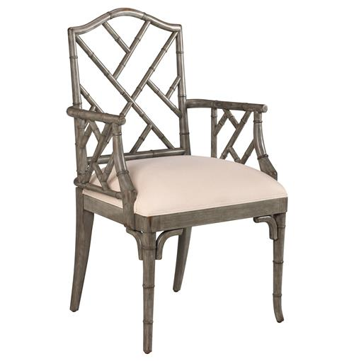 Chinese Chippendale Hollywood Regency Grey Bamboo Dining Arm Chair | Kathy Kuo Home