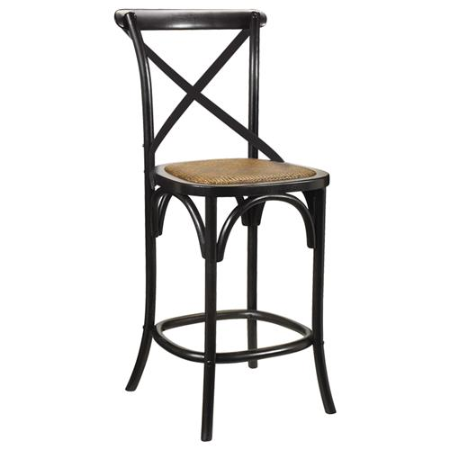 Kasson French Country Black Oak Wood Barstool | Kathy Kuo Home