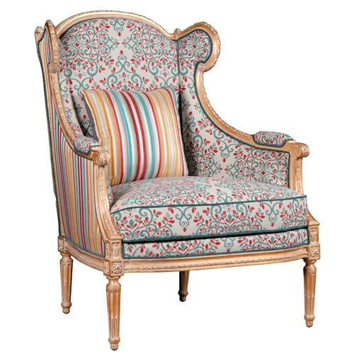 Jana French Global Bazaar Walnut Wood Floral Upholstered Arm Chair | Kathy Kuo Home