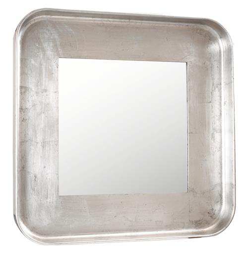Marant French Modern Silver Leaf Round Square Mirror | Kathy Kuo Home