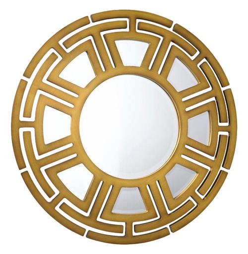 Aztec Hollywood Regency Matte Gold Circular Pattern Wall Mirror - 47D | Kathy Kuo Home