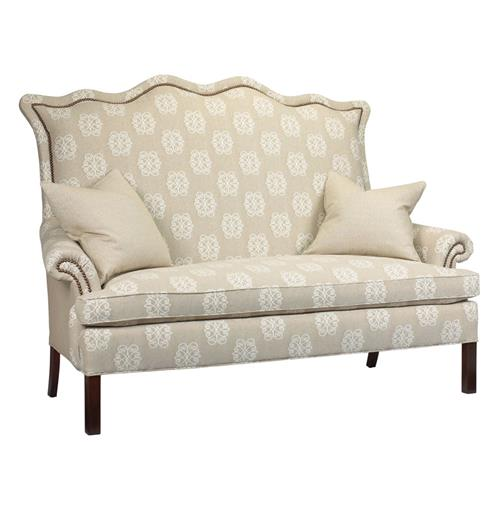 Beziers French Country Ivory Monogram Upholstered Small Sofa | Kathy Kuo Home