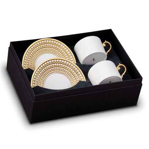 L'Objet Perlee Modern White Porcelain Gold Accent Tea Cup and Saucer - Set of 2 | Kathy Kuo Home