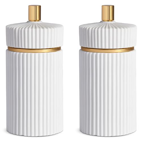 L'Objet Ionic Modern Classic White Porcelain Fluted Salt and Pepper Set - Small | Kathy Kuo Home