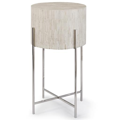Regina Andrew  Global Bazaar White Bone Drum Side Table - Silver | Kathy Kuo Home