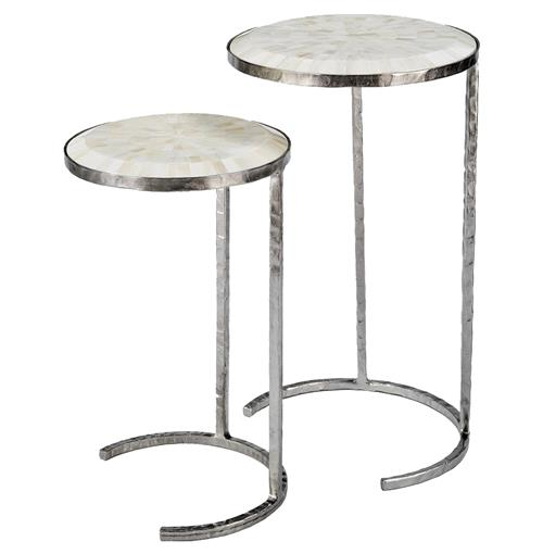 Regina Andrew Bone Classic White Bone Silver Nesting Side Tables - Set of 2 | Kathy Kuo Home